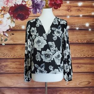 WHBM Black and White Floral Wrap Blouse